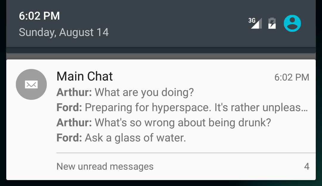 Main Chat notification